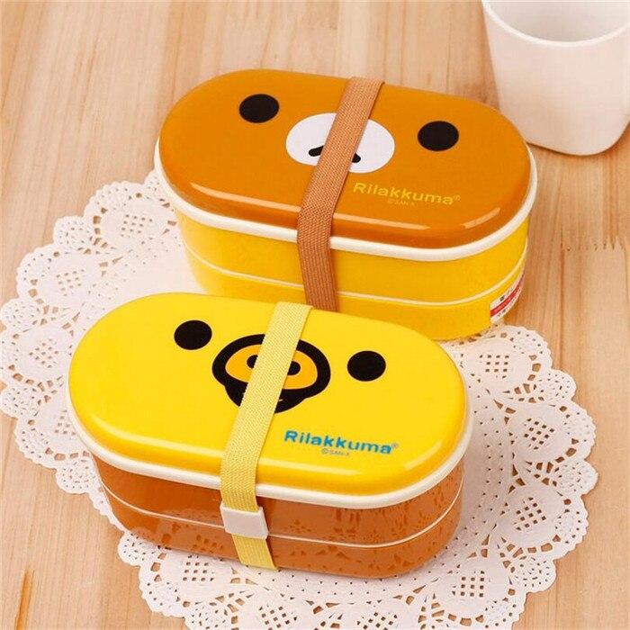1 STÜCK 2 Schicht Nette Rilakkuma Lunchbox Bento Mittagessen Container Lebensmittelbehälter Japanischen Stil Kunststoff Mittagessen Sushi Box OK 0311