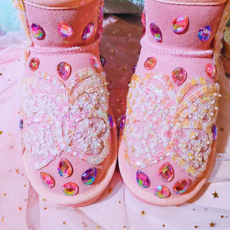 Piedras Rosa Cristales As Suede De Bling Para Princesa Dulce Mujeres Las 2018 Lentejuelas Vaca Photo Piel Zapatos Plana Invierno Caliente Tobillo Nieve Botas 1On1wtqgrx