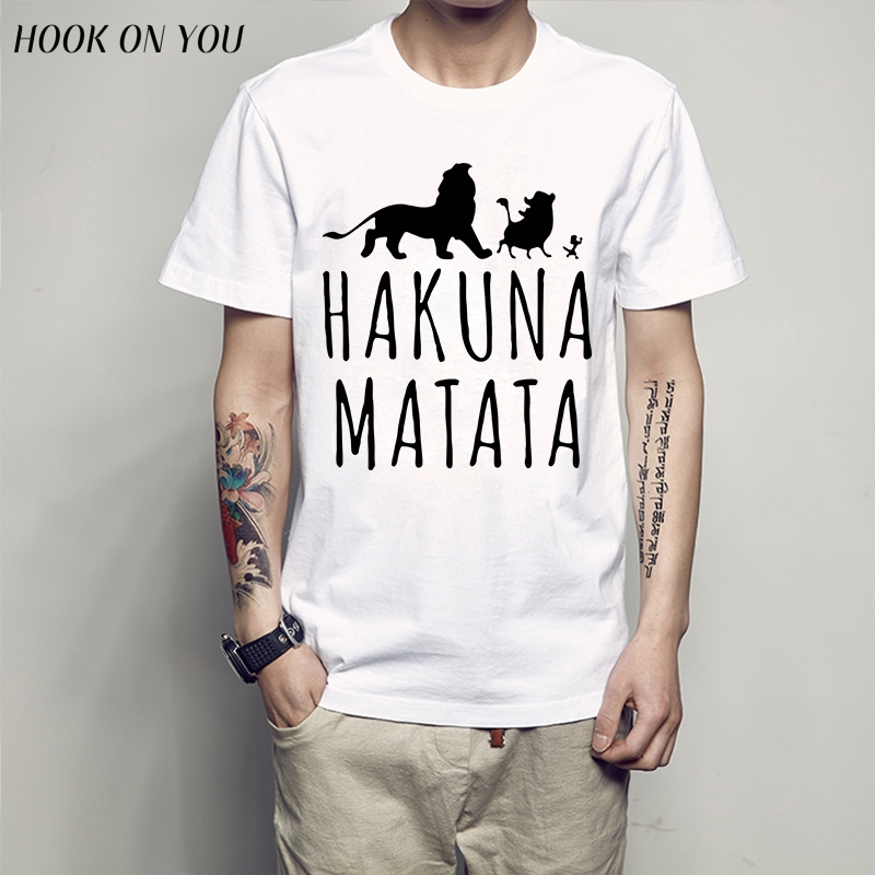 The Lion King HAKUNA MATATA Men T Shirt Hot Sale 2017 Summer Anime Men T Shirt Short Sleeve O-Neck Tops animal
