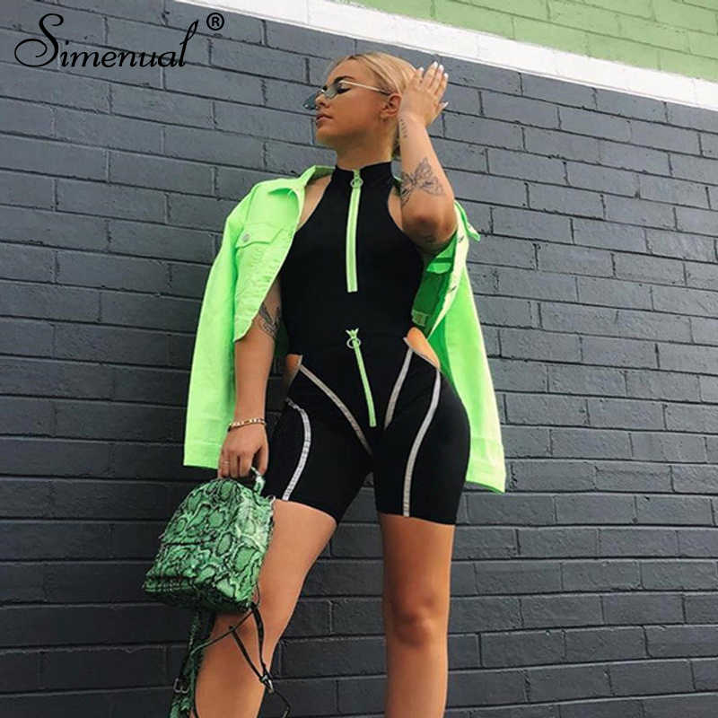 Simenual Casual Sporty Women Two Piece Sets Reflective Striped Zipper Outfits Bodysuit And Cut Out Shorts Set Streetwear Fashion