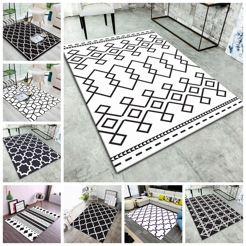 Nordic Geometric Printed Carpets Rugs Modern Coffee Table Bedroom Living Room Non-Slip Tapete Modern Home Decoration Floor Mats