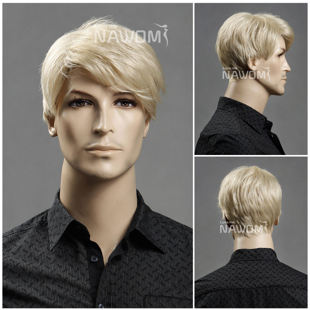 100% Kanekalon  NAWOMI 11'' Short cool  male blonde wig for man synthetic Hair  W3560 Free shipping