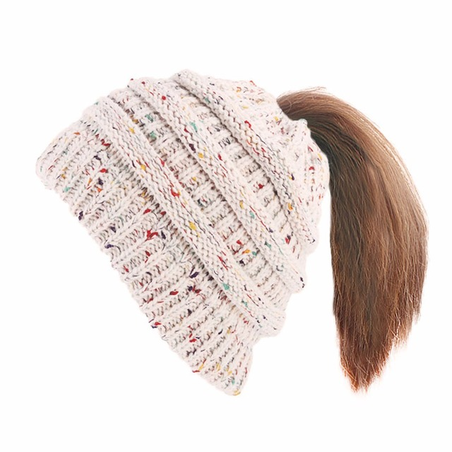 acb0769e611215 Ponytail Beanie Hats Red Women Winter Cap Knitted Skullies Beanies Warm Caps  White Female Knit Messy