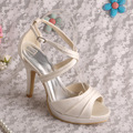 (20 Colors)Wholesale Ivory Satin Women Sandals Cross Strap Bridal Wedding Shoes with Platform