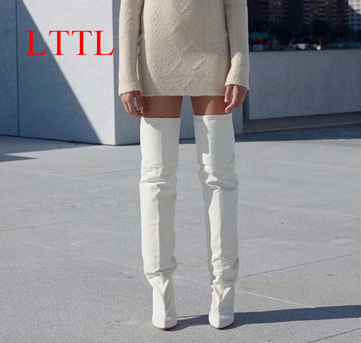 LTTL New Arrival Women Thigh High Boots Kim Kardashian White Microfiber Bootie Thin High Heel Over the Knee Boots Plus Size got7 got 7 youngjae kim yugyeom autographed signed photo flight log arrival 6 inches new korean freeshipping 03 2017