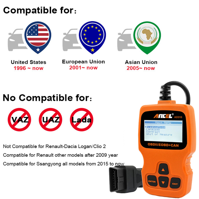 OBD2 Scanner Ancel AD310 ODB2 Car Diagnostic Scanner OBD 2 Code Reader For Car Diagnostic OBDll Tool OBD Auto Diagnostic Scanner