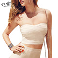 yilia 2017 Women Bodycon Bandage Tube Tops Blue Pink Red Nude Strapless Female Top Bra Fitness For Women Cropped Feminino