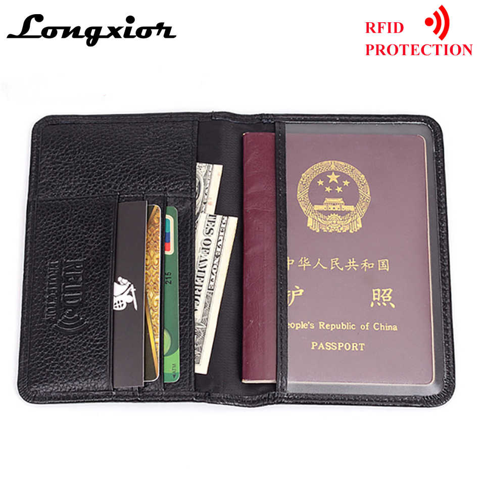 7e38077892d3 MRF6 RFID Blocking Passport Cover for Men Genuine Cow Leather Credit Cards  Wallet RFID Protection Business Card Holder Wallets