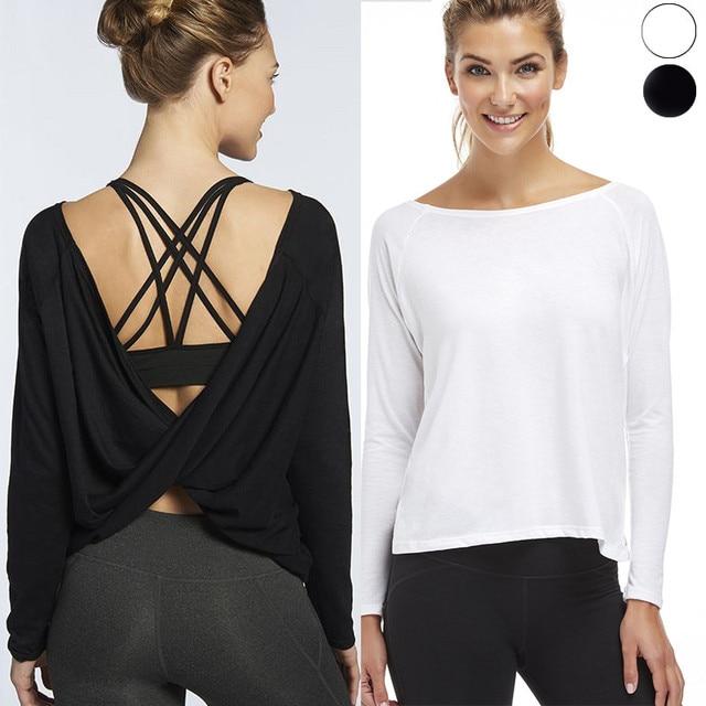Backless solid sport top ademend yoga shirts vrouwen fitness lange mouw  sneldrogende sport shirt gym kleding