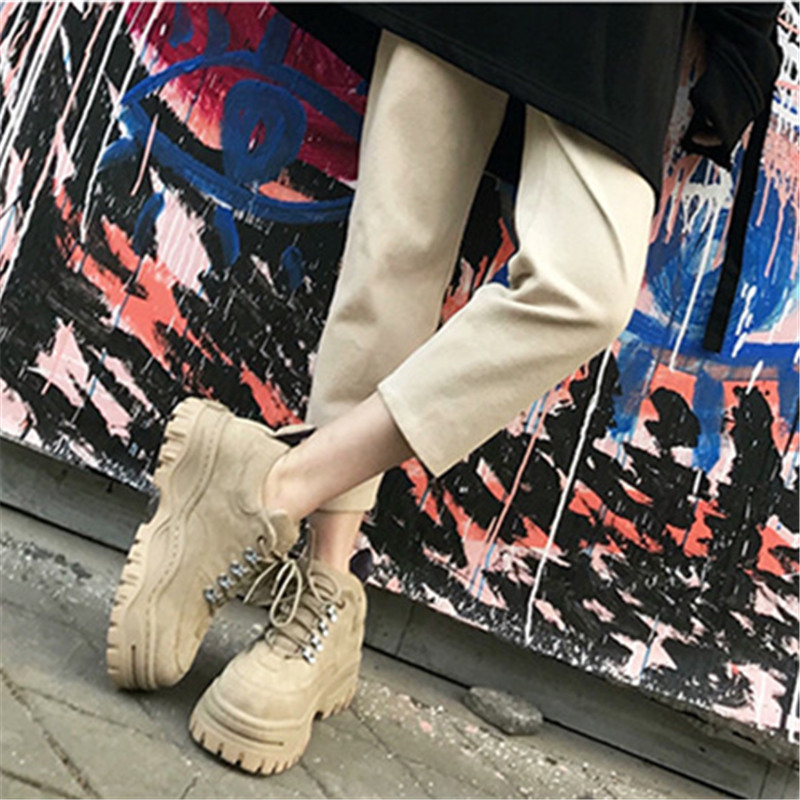 Espadrilles White De black Leather Plate New Tenis Hiver forme Creepers Casual Femmes Dentelle Feminino Black Cuir yellow White Up Appartements brown Suede En Sneakers 2019 Chaussures Mabaiwan brown p4Wq0xY8