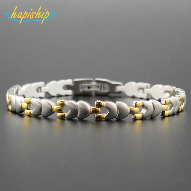 Hapiship 2017 New Wome/Men's Bangle Gold Silver Heart 316L Stainless Steel Bracelet Bangle For Men Women TG04509 Drop Shipping