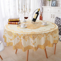 Round Table Cloth Scald Gold PVC Tablecloth Waterproof Oilproof Kitchen Dining Cover for Party Wedding Home Diameter 180cm/150cm