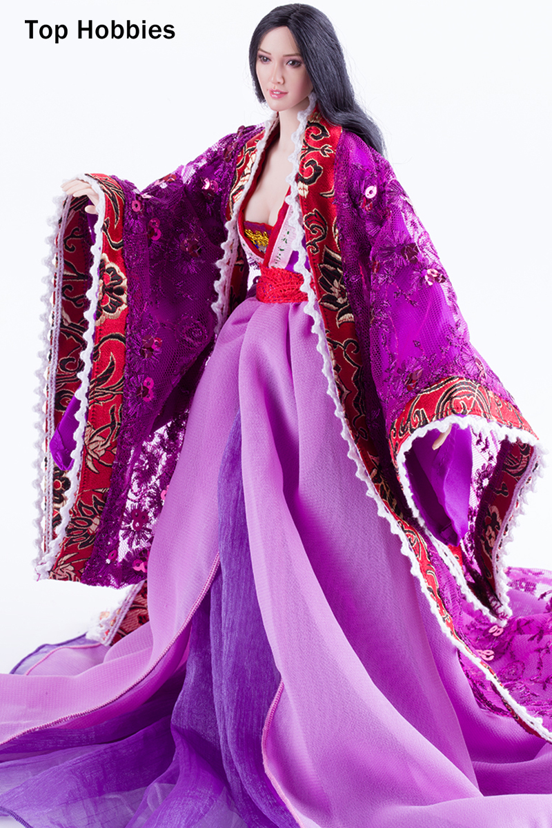 1/6 Female Purple Long Dress Chinese Style Ancient Costume skirt suit Fit 12'' Large Bust Phicen Action Figure Bust Body Doll 1 6 purple female sexy leather skirt dress suit clothing model toys for 12 female action figures body accessory
