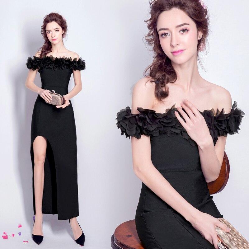 Offre spéciale ~ Style Simple pétale bateau cou haut côté fente Sexy mère robe 29