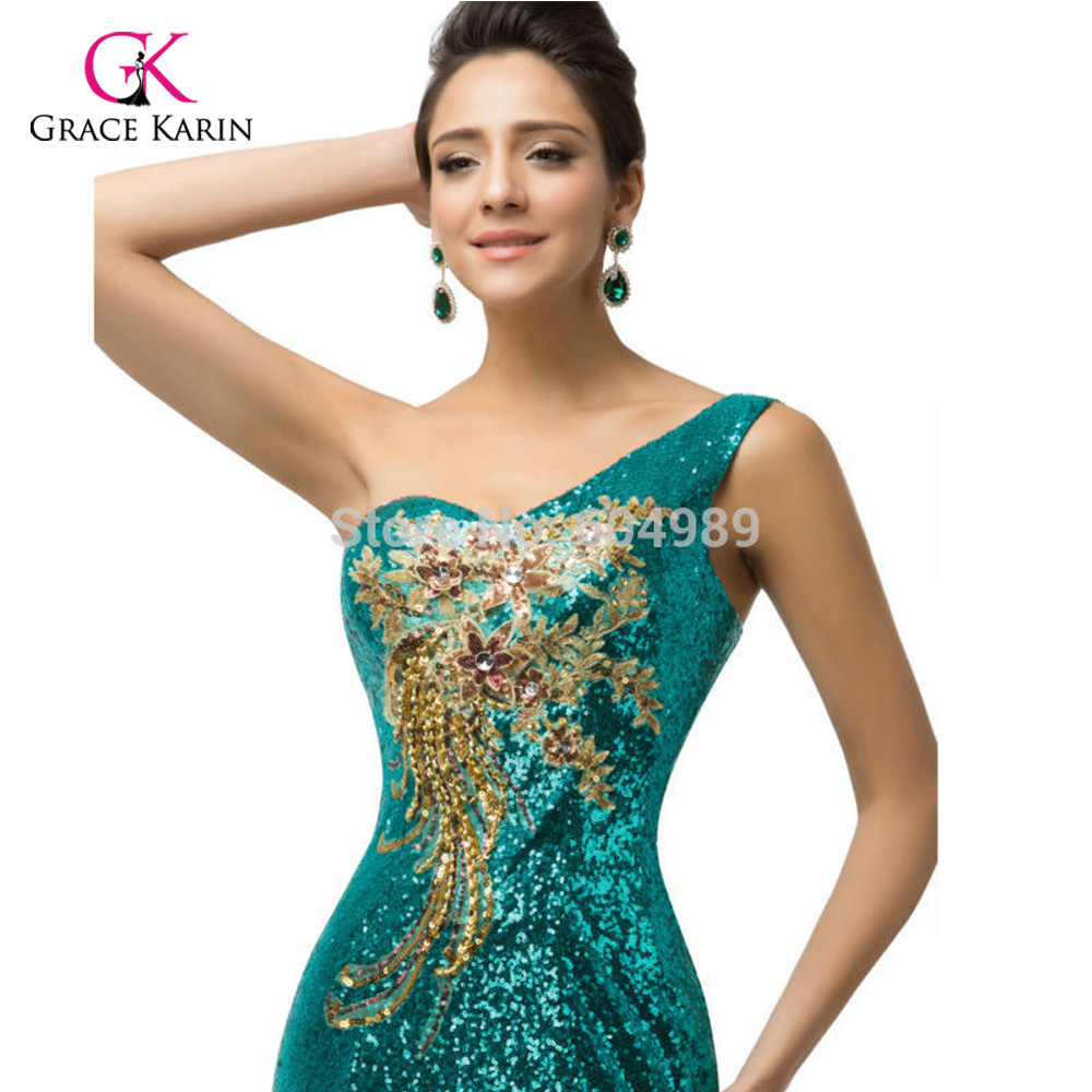Grace Karin Sexy Purple teal Green Sequin Gown Mermaid Long Evening Dresses  2018 Trumpet One shoulder Evening Party Dress 7545-in Evening Dresses from  ... 902ca3d0bd67