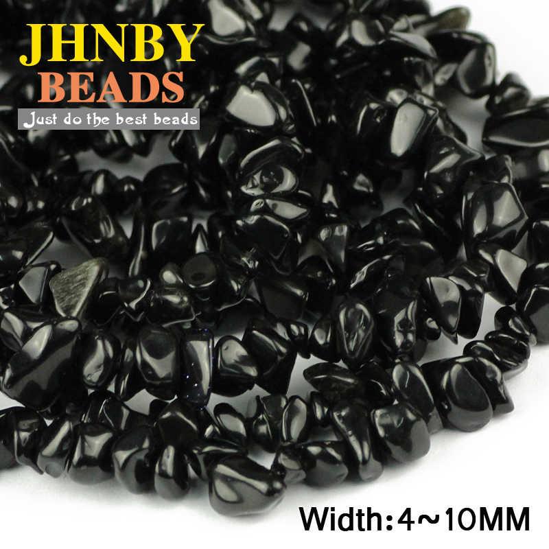 JHNBY שחור אבן חצץ סדיר חרוזים למעלה איכות טבעי אבן 87cm גדיל שבבי Loose חרוזים תכשיטי צמיד ביצוע DIY