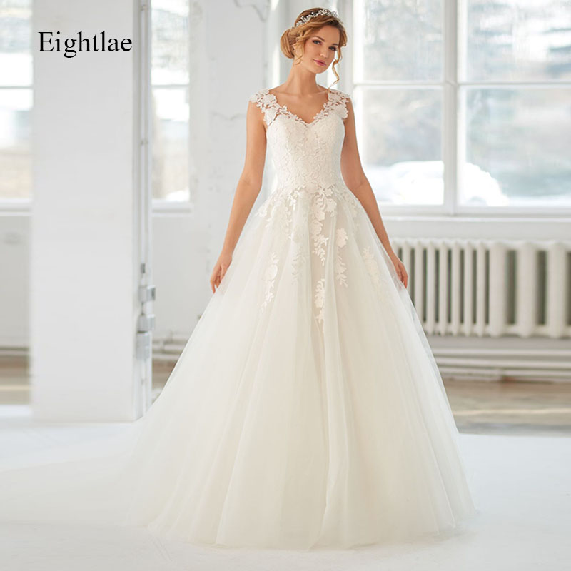 Eightale Wedding Dress 2019 Boho Applique Sheer Illusion Back A Line Long V Neck Tulle Bridal Dress Vestido De Festa Longo