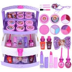 Disney juguetes de maquillaje para niños cosméticos princesa caja de maquillaje seguro no tóxico juguete para regalo