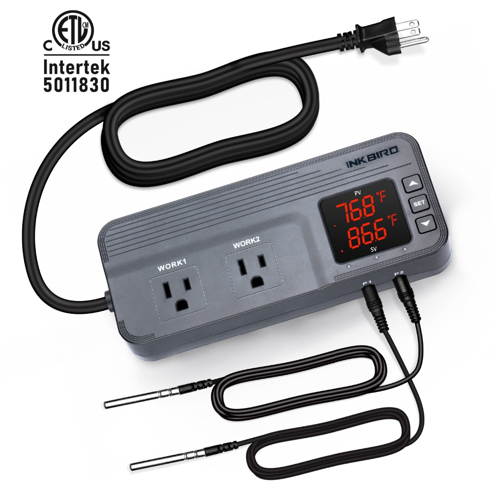 Inkbird ITC-608T Temperature Humidity Controller Dual Stage Outlet Thermostat with 12 Period Time Stage and 2 Temperature Sensor