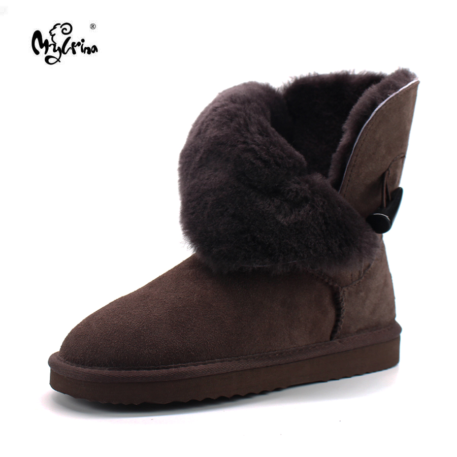Free Shipping New Arrival 100 Real Fur Classic Mujer Botas Waterproof Genuine Cowhide Leather Snow Boots