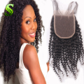 Mongolian Kinky Curly Lace Closure Free Middle 3 Part Lace Top Closure With Baby Hair Human Hair Kinky Curly Lace Front Closure