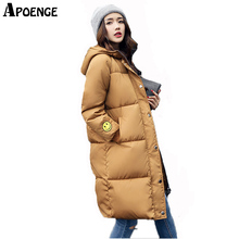 APOENGE Parka Mujer Women Winter Coat and Jackets 2017 Long Thick Warm Smile Face Printed Jacket Cotton winterjassen damesQN601