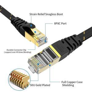 Image 4 - Câble Ethernet AMPCOM RJ45 Cat7 câble Lan STP RJ 45 câble réseau plat cordon de raccordement pour Modem, routeur, TV, tableau de connexions, PC, ordinateur portable