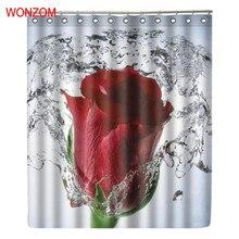 WONZOM Water Rose Shower Bathroom Waterproof Accessories Curtains For Decor Modern Flower Bath Curtain with 12 Hooks
