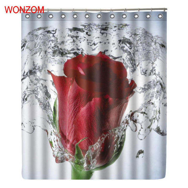 WONZOM Water Rose Shower Bathroom Waterproof Accessories Curtains ...