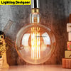 G200bulb Big Size Edison Light Bulb Oversized Vintage Lamp LED Light Source 6W Dimmable Decorative Bulb