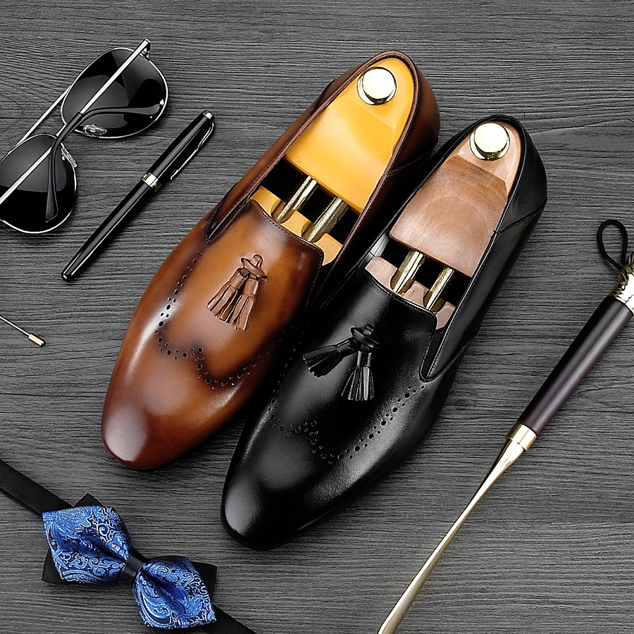 Vintage British Style Pointed Carved Man Casual Shoes Genuine Leather Handmade Brogue Loafers Men's Height Increasing Flats NE52