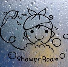 Funny Wall Stickers Bathroom Glass Door Stickers Cute Children Girl Shower Sticker Waterproof Removable Vinyl Decor