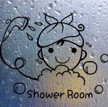 Funny Wall Stickers Bathroom Glass Door Stickers Cute Children Girl Shower Sticker Waterproof Removable Vinyl Decor Decal