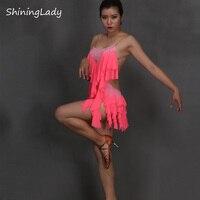 2016 New Lady Dance Suspenders Backless Rhinestone Tassels Latin Dance Dress