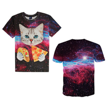 Men Tshirt Funny 3D Printing Galaxy Space T shirt Lovely Kitten Cat Pizza Short Sleeve Round Neck Tops Tee Trendy Fashion Y4
