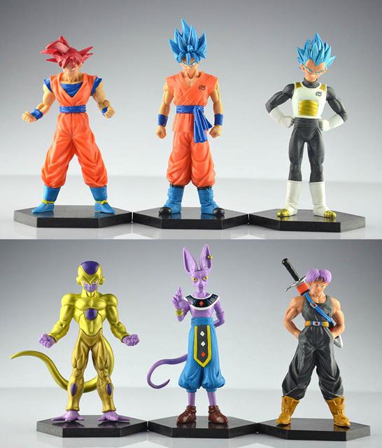 6 pçs/lote figuras de Dragon ball z figuras de ação goku dragonball super trunks azul dbz Frieza vegeta super saiyan deus Beerus brinquedos