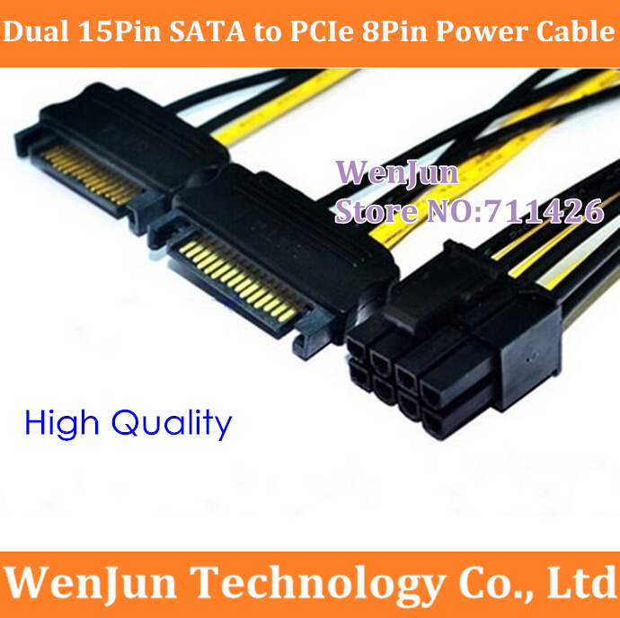 100PCS Free Shipping Dual SATA 15Pin Male to PCI Express 8Pin 6 2 Male Power Cable
