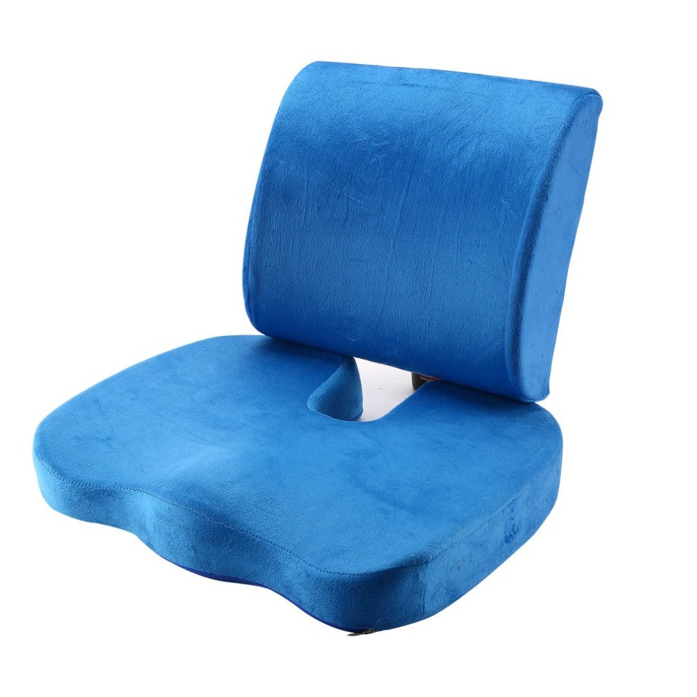 2PCS/SET Comfortable Memory Foam Orthopedic Seat Cushion Waist Back Support Set For Home Office Health Care Cushion(China)