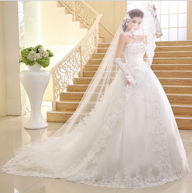 2015 Best Selling Wedding Dress Ball Gown Train Sweetheart Crystal ...
