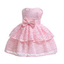 Free Shipping 3M-24M Cotton Lining Newborns Dresses 2019 New Pink Baby Dress lace 1 Year Infant Girl Birthday Christening Gown