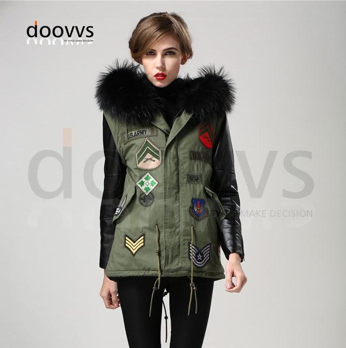 grossiste ec2ee 32a70 € 430.99 |Mrs fur noir grande vraie veste de col de fourrure perlée, sexy  fille manteau chauffant veste avec manteau de manche en cuir-in Vestes de  ...