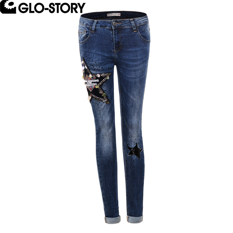 Women's Clothing Provided Glo-story Women 2018 Autumn&winter New Star Sequined Embroidered Jeans Female Stretch Skinny Pencil Jeans Wnk-5128 Bottoms
