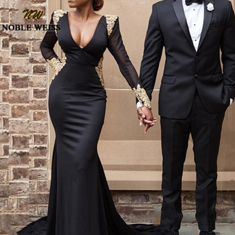 Robe Soiree Dubai Formal Dress Women Elegant Long Sleeve Evening Gowns Backless Black Plus Size Arabic Party Prom Gown