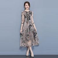 Pleated Gown 2018 New Fashion Women Long Dresses Fall Party Elegant DressesHigh Quality Elegant Summer Dress Plus Size S 4XL
