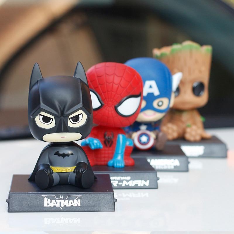 JOORMOM cartoon Batman Spider-Man car ornaments shake head doll hand model Car mobile phone seat car accessories