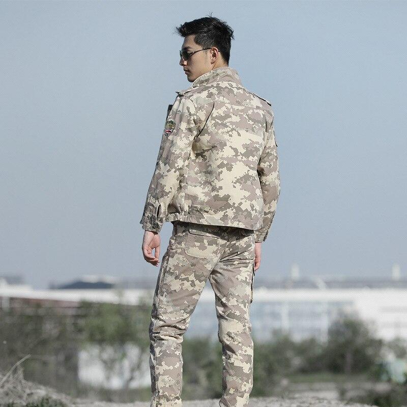 High Quality Men Army Beige Tactical Military Uniform Camouflage Combat Jacket+ Combat pant Special Forces ACU Uniforms Man Coat - 3