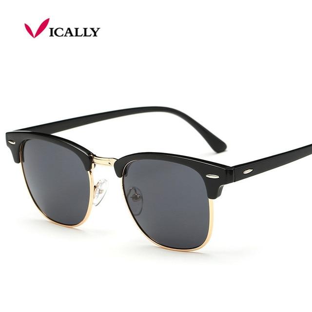af14289561f High Quality Half Metal Sunglasses Men Women Brand Designer Glasses Mirror  Sun Glasses Fashion Gafas Oculos De Sol UV400 Classic