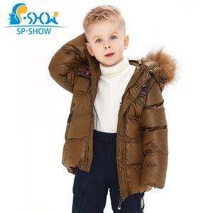 Image 4 - 2019 SP SHOW Çocuklar Kış Erkek Ve Kız Marka Kapüşonlu Ceket Rüzgar Geçirmez Siut Kalın Sıcak Polar Ceket + Pantolon Iki parça 04