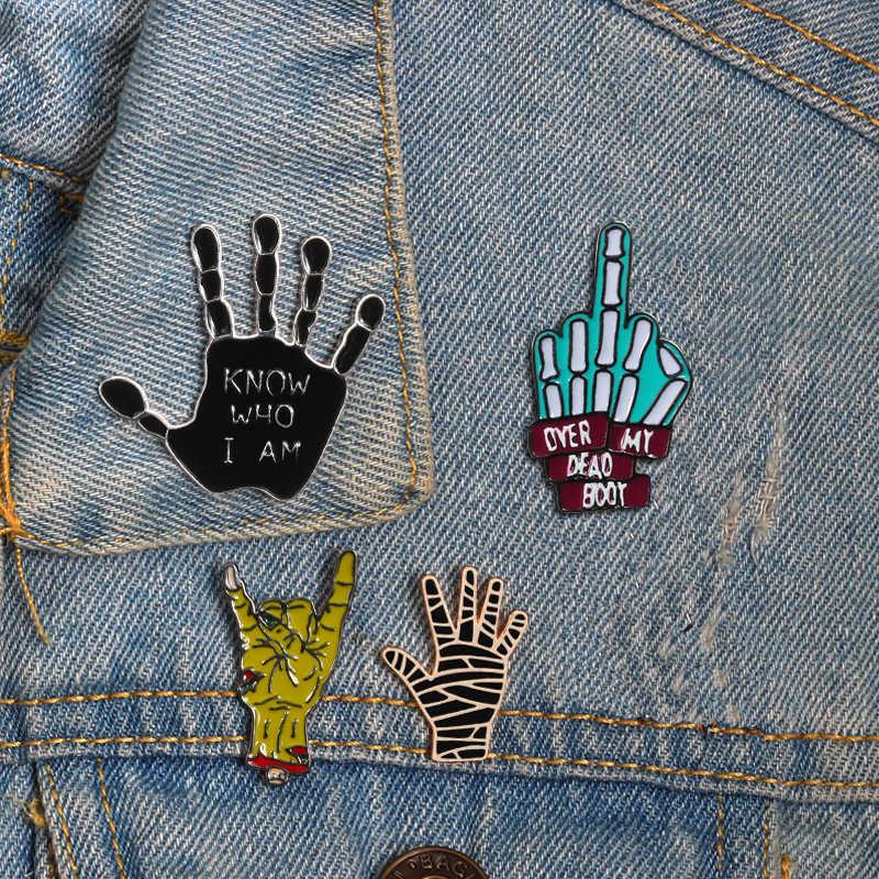 Забавные булавка брошь в стиле «панк» бокс Palm победный жест аниме эмаль на булавке значок брошь для Для женщин Для мужчин рубашки и куртки, ювелирное изделие, подарок