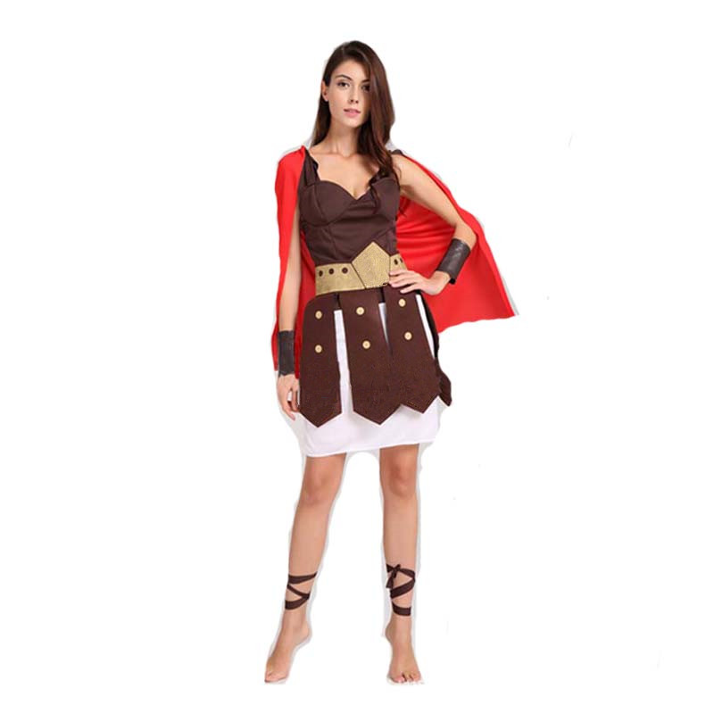 Woman Lady Ancient Rome Italy Warrior Soldier Masquerade Cosplay Costume Fancy Dress Outfit Clothers Carnival Party